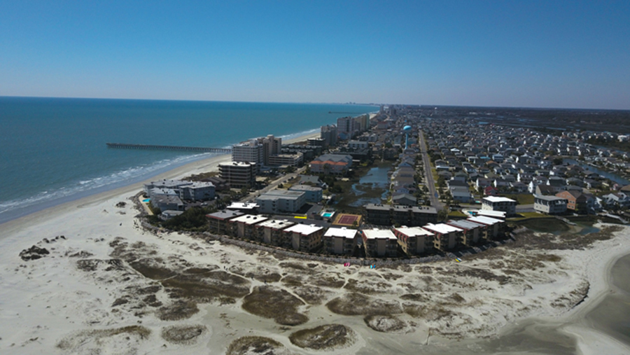 Gorgeous aerial view of the point in Cherry Grove Beach