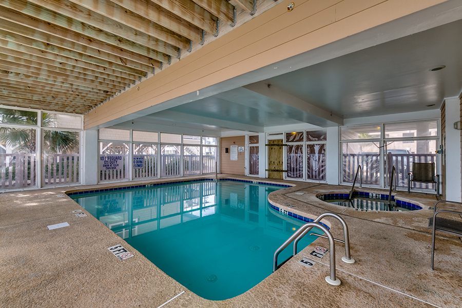 Enclosed indoor pool and hot tub