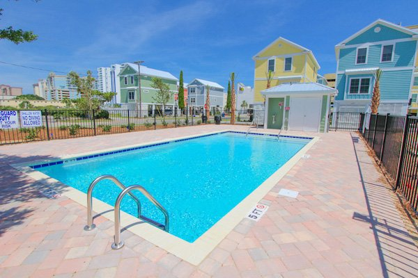 Community outdoor pool at South Beach Cottages